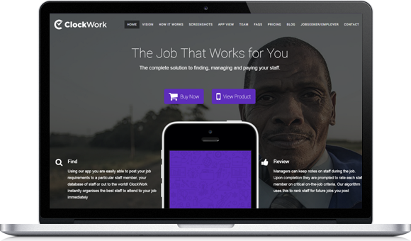 ClockWorkApp Website by Website Design Studio