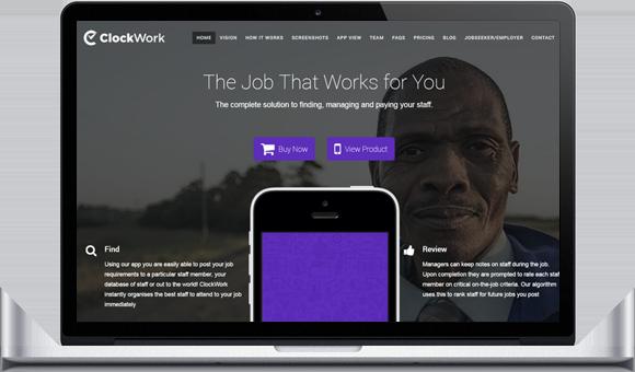 ClockWorkApp Website by Website Design Studio